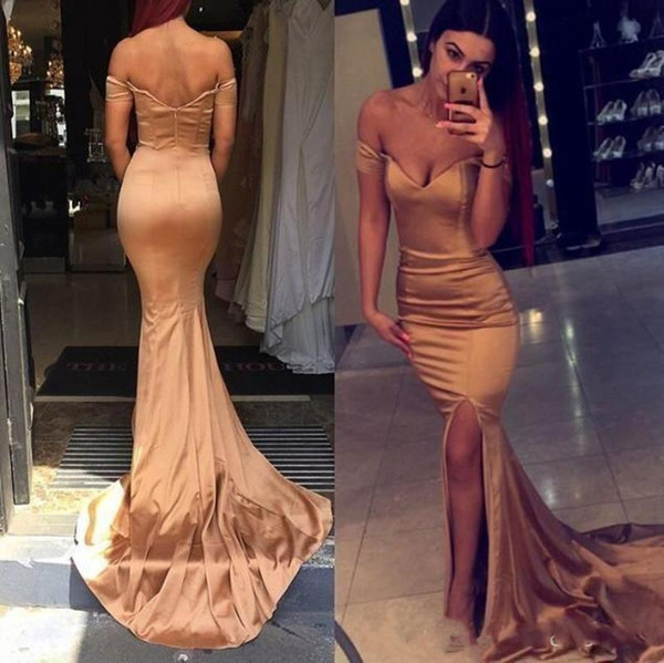 2019 New Rose Gold Off Shoulder Long Prom Dresses Sexy Mermaid Side Split Evening Dresses Wear Cheap Formal Floor Length Party Gowns
