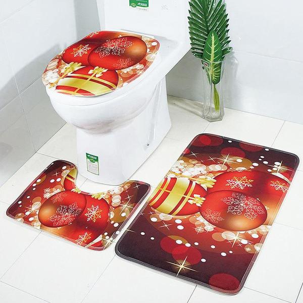 30 Lotes de Navidad Alfombras de Baño Alfombra de baño de Navidad 3 Unids / set Alfombra de baño Tapa de Inodoro Cubierta de Tapa de Inodoro Alfombras antideslizantesDH0228