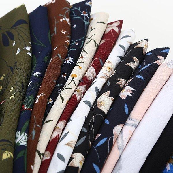 Les femmes imprimées foulard floral en mousseline de soie bulle écharpes châles hijab mode musulmane longue enveloppe bandeau 28 écharpe de couleur 180 * 73 cm
