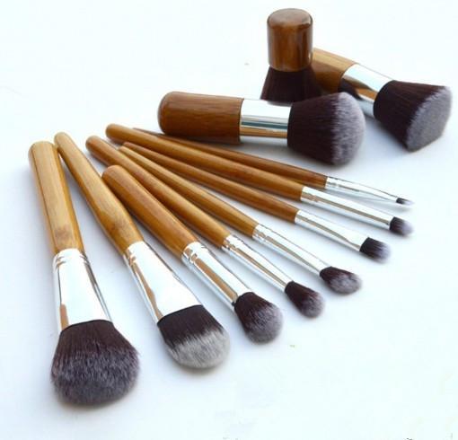 Top qualidade alça de bambu profissional pincéis de maquiagem 11 pcs Set Beleza Ferramentas Super macio Cabeça da escova com saco de Armazenamento