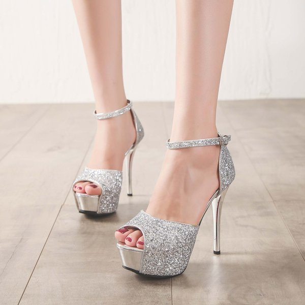 Desinger para club nocturno / fiesta / zapato de boda mujer Sandalia astilla tacón alto 13cm tacón peep toe plataforma decorada con lentejuelas
