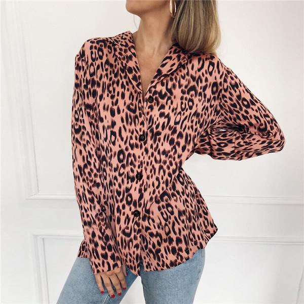 a76ed0705f0 Vrouwen Blouses Zomer Chiffon Leopard Blouse Lange Mouwen Turn Down Kraag  Lady Office Shirt Losse Tops Plus Size Blusas Chemisier White Long ...
