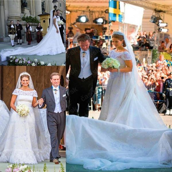 2017 elegante Vestidos De Noiva Spitze A Linie Brautkleider mit Kurzen Flügelärmeln Bateau Lange Kapelle Zug Arabisch Dubai Brautkleider