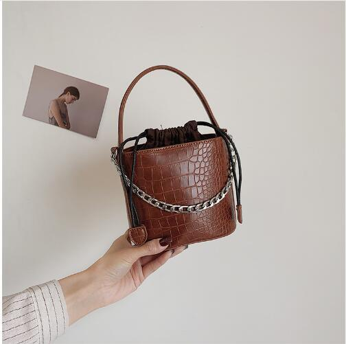 Crocodile Pattern PU Leather Bucket Bags For Women 2019 Small Drawstring Crossbody Bag Ladies Shoulder Bag Female Handbags