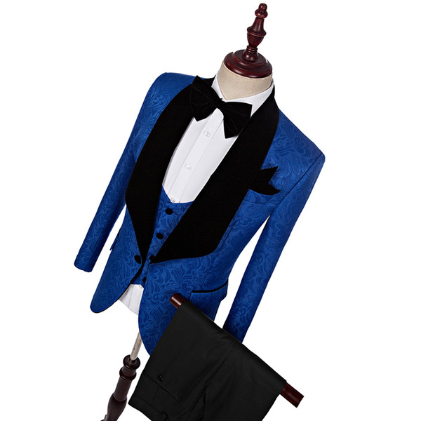 New Style Classic Royal Blue Groom Tuxedos Shawl Lapel Groom Tuxedos Men Suits Wedding Best Man Blazer (Jacket+Pants+Tie+Vest
