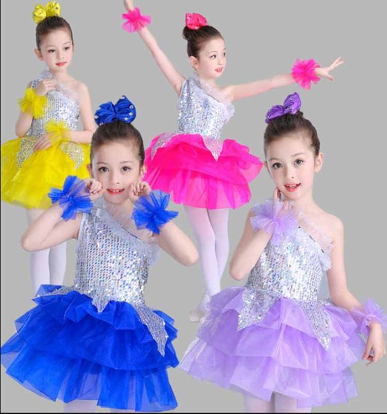 Детские костюмы для танцев с блестками Латинские танцы Балетные платья Юбки Одежда для танцев Синий Фиолетовый Желтый Дети для девочек 3-15 лет: одежда
