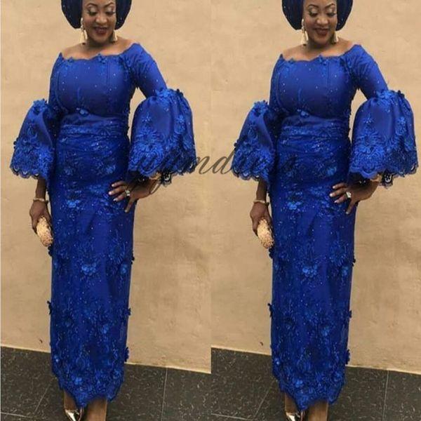 Royal Blue Prom Dresses 2019 Off spalla collo soffio manica caviglia lunghezza pizzo Appliques nero ragazza abiti da sera abiti da festa formale