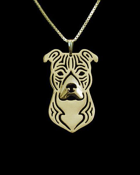 Verkaufe Karikatur Boho Chic Alloy Pitbull American Staffordshire Terrier Halskette Mode Pitbull Anhänger Silber Gold zwei Farben