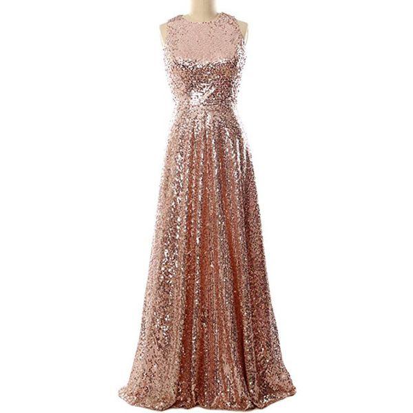 Bling Sequins Bridesmaid Dresses with Jewel Neckline 2020 Floor Length Party Dress Rose Gold silver lavender Purple Royal Blue