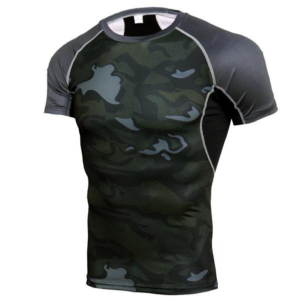 NEW Brand Quick Dry Compression Men's Short Sleeve T-Shirts men Running Sports T Shirt Gym Camo Sportswear Rashgard Male T Shirt