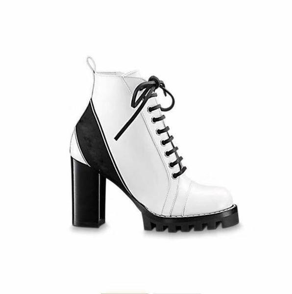 Lederschuhe für Damen Schnürstiefeletten mit Bandgürtelschnalle direkt ab Werk mit rundem Kopf und rauem Absatz im Herbst Winter Martin Boots GG