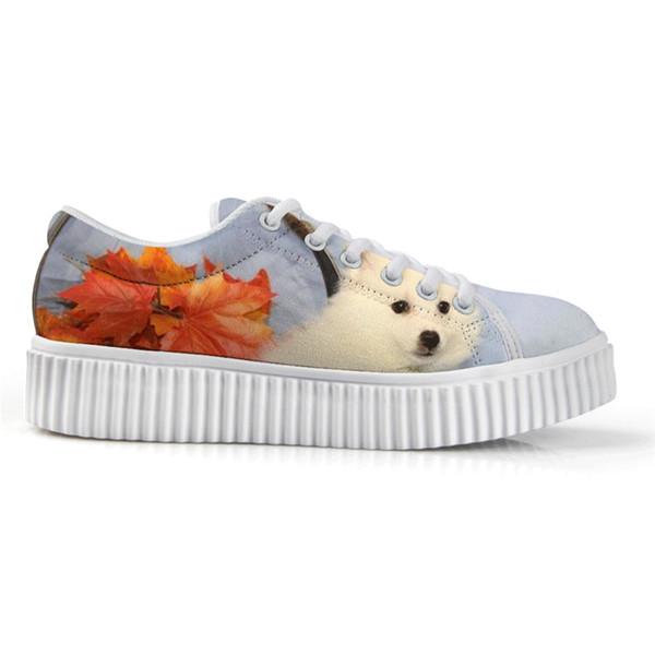Özel Yeni Amerikan Eskimo Köpek Düşük Üst Yükseklik Artan Beyaz Tuval Platformu Ayakkabı Baskı Yassı Ayakkabı Kadın Dantel-up Şık
