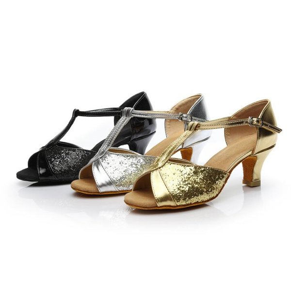 Hot sale Sandals Women's Girls Ballroom Latin Tango Dance Shoes heeled 7cm / 5cm Sales Silver Gold Black Brown color wholesale