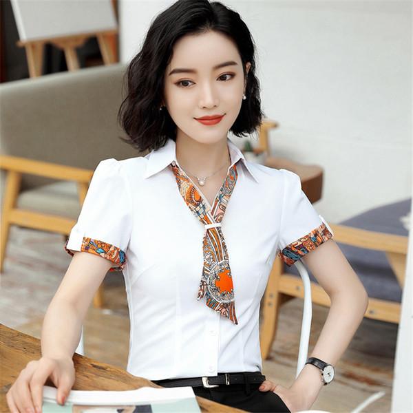Mode féminine à manches courtes Chemises TURN-Col Casual Chemisier Femme bureau Bouton Chemise unie Hauts formels avec D0177 écharpe