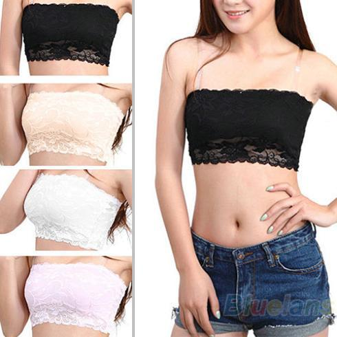 Fashion-Wholesale-Brand New Women's Sexy Lace Casual Crop Boob Tube Top Bandeau Bra Strapless Seamless Solid Black White Pink Nude B314