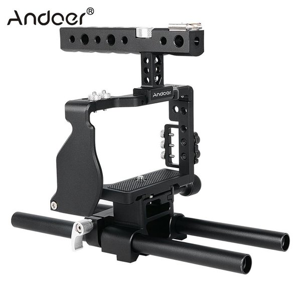 Freeshipping Professional Video Cage Rig Kit Film Making System w/15mm Rod for Sony A6000 A6300 A6500 ILDC Mirrorless Camera Camcorder