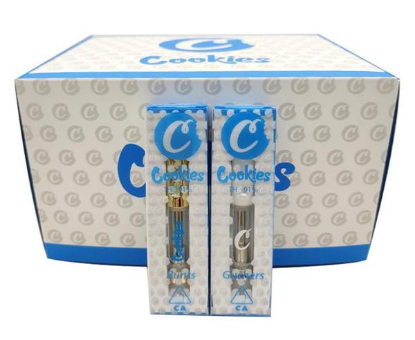 0.8ml Cookies Carts Empty Vape Cartridge Disposable pen Ceramic 1.0ml Atomizer Moonrock Clear Glass Tank 350mah Cell Custom Packaging