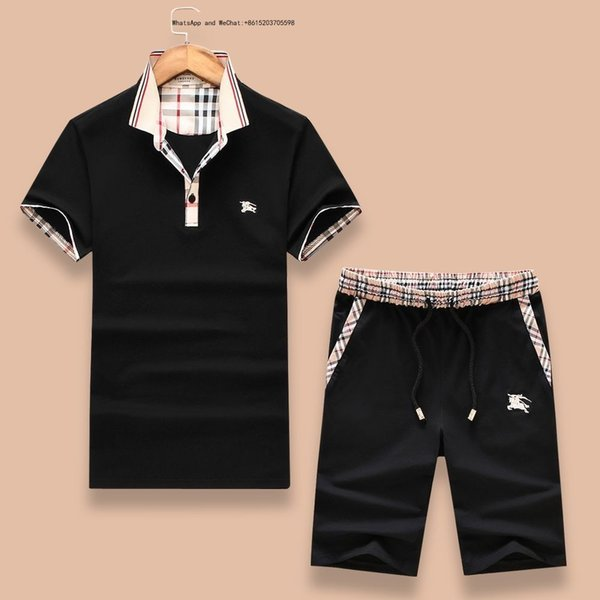 2019 New Sets T-shirt And Pant Short Tracksuit Summer Suit Sport mens fashion