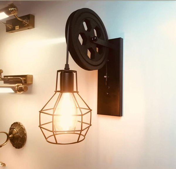 American style LOFT industrial wind retro wall lamp wrought iron pulley wall lamp B&B restaurant bar lighting corridor aisle lights