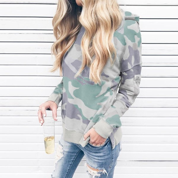 Camouflage Print Women Long Sleeve Shirt Fashion Lady Sexy Tops Army Style Casual Female Hoodies Sweatshirts