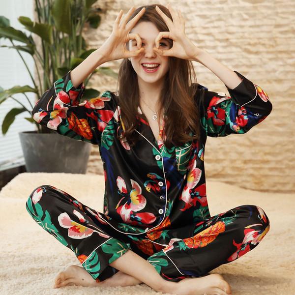 2019 pigiama di seta imitazione per le donne pigiameria in raso imposta maniche lunghe colletto bavero top + pantaloni donna camicette da notte