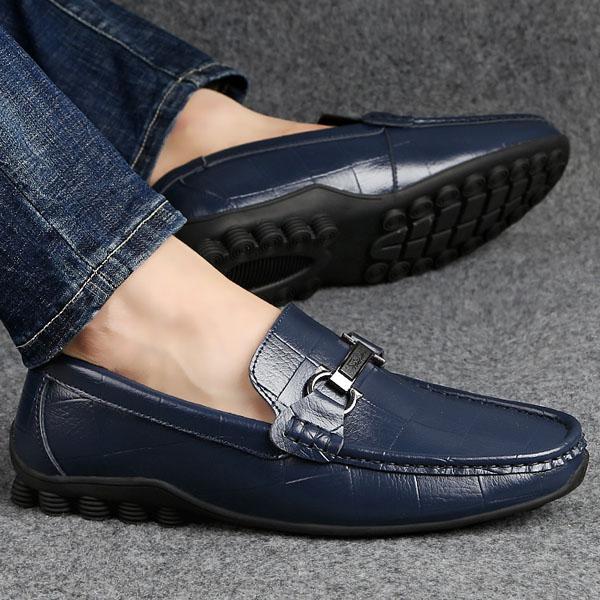 Super Design Hand-made Genuine leather Men's Casual shoes, Fashionable Soft Comfortable Bean sole Men's Leisure shoes Size 38-47 MCS 023