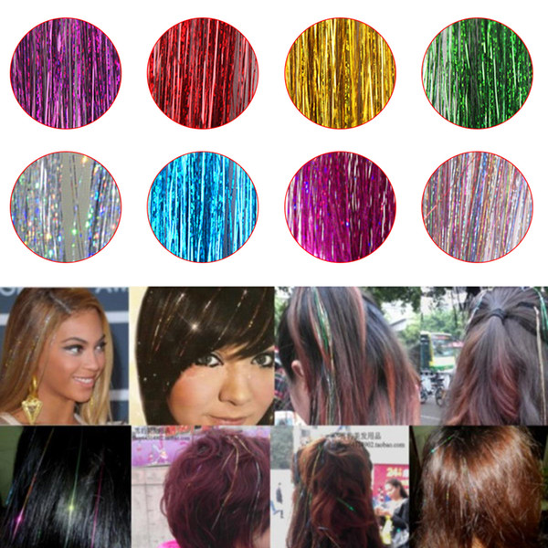 Bling Hair Tinsel Sparkle For Synthetic Hair Extension Glitter Rainbow False Strands Party Accessories Hairstyling