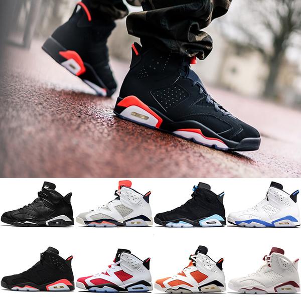 Nike Air Jordan 6 Retro Yeni Bred 6 6 s Erkekler Basketbol Ayakkabı Tinker Siyah Kızılötesi Kedi UNC Carmine Maroon Gatorade Erkek Tasarımcı Spor Eğitmenler Ucuz Boyutu 8-13