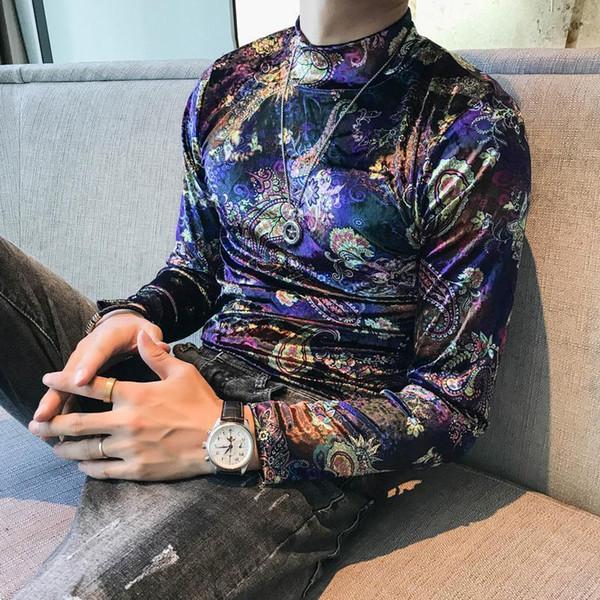 Casual Tshirts For Men Nice Autumn Turtleneck T Shirts Mens Velvet Baroque T Shirts Mens Retro Camiseta Slim Fit Cashew Flowers