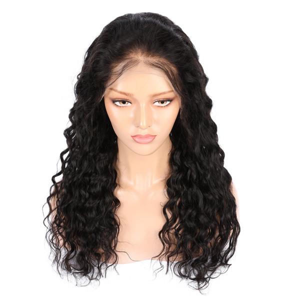 AiS Menschenhaarperücken Für Schwarze Frauen Volle Spitzeperücke 13 * 4 Front Lace Perücke Wasser Welle Natürliche 1B Farbe Brasilianische Remy Haar Perücken Mit Dem Babyhaar