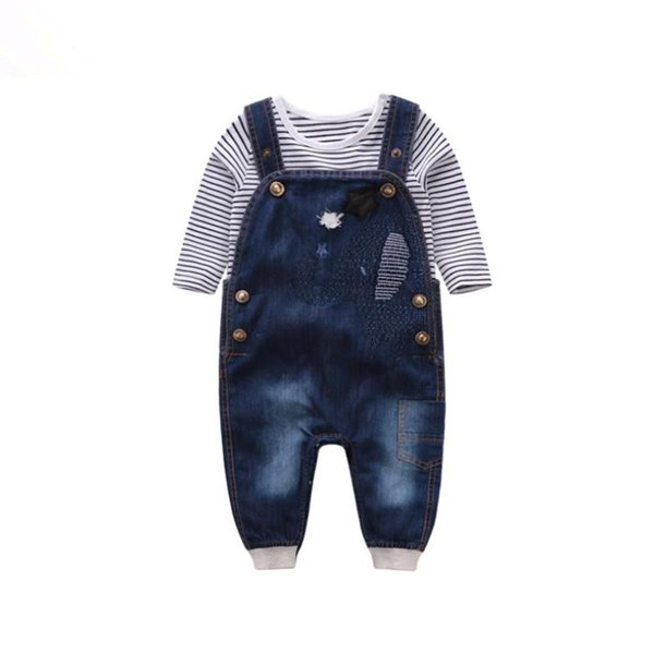 Baby Boys Clothes Sets Kid Boys Long Sleeve Jumpsuit Jeans Infant Baby Striped Ropa+Suspender Pants Girls Denim Overalls Y217