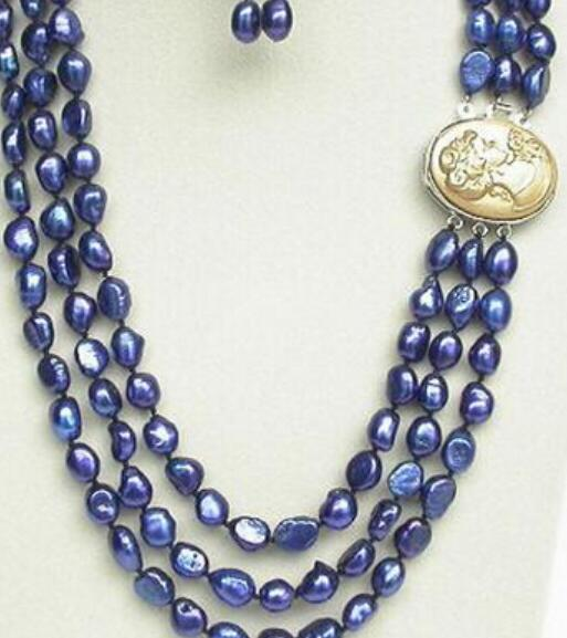 "jewelry 1024+++20"" 3row 12mm baroque navy blue pearls necklace dangle Earrings"