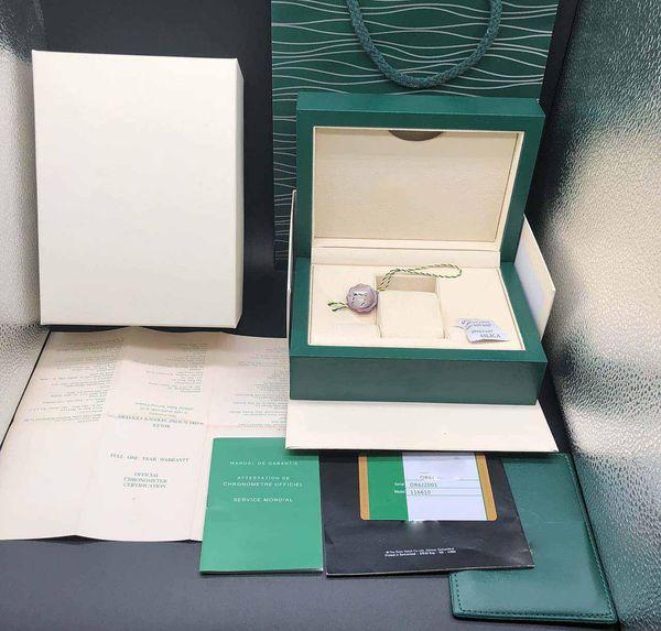 Cassa del regalo della scatola di orologio di verde scuro di migliore qualità per Rolex Orologi Cartellini per schede libretto e documenti in scatole svizzere di orologi di marca