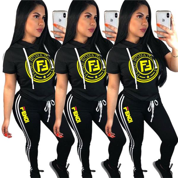 Женские летние толстовки с коротким рукавом с короткими рукавами, футболка + брюки, 2 шт., Комплект с боковой полосой, спортивная одежда, комплект для бега B4151