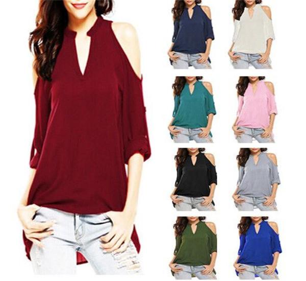 Blusa de gasa de talla grande para mujer Camisas de verano de manga larga para mujer Camisetas con cuello en v sexy Ropa 6224