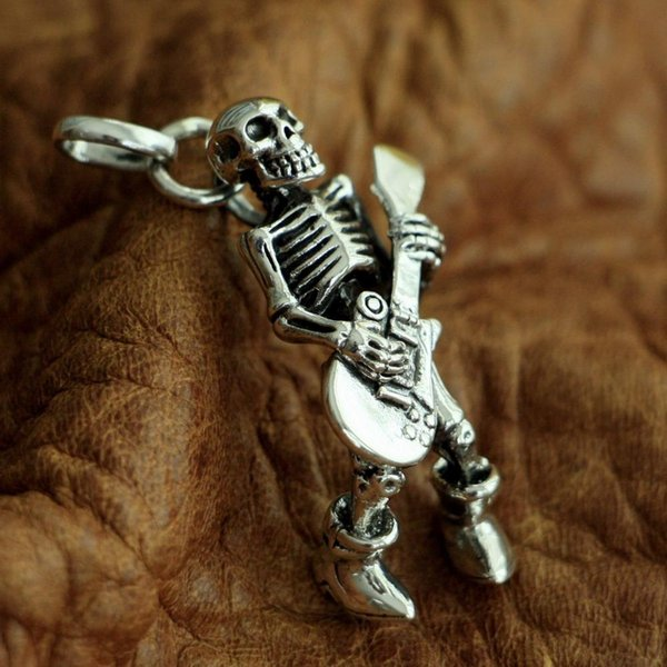 LINSION 925 Sterling Silver Guitar Skull Mens Biker Punk Pendant TA94 JP