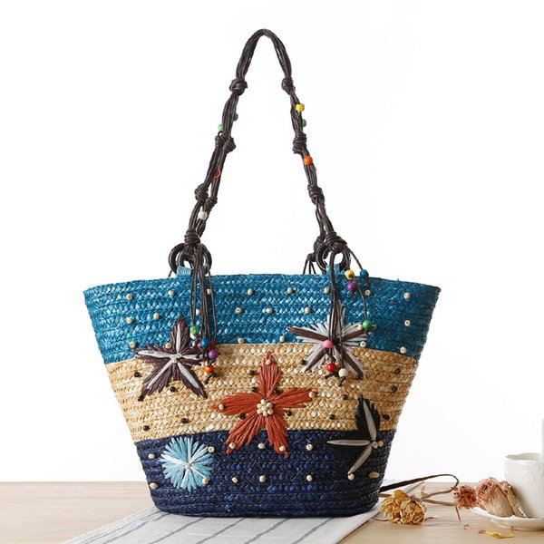 Women Summer Handbag New Bohemia Hand-embroidered Starfish Straw Bag Summer Beaded Woven Bag Handbag