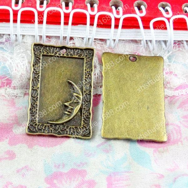 40 pcs 22,1 * 32,1 MM Antique bronze tibétain lune étiquette breloques pour bracelet vintage pendentif en métal pour boucle d'oreille à la main bricolage fabrication de bijoux