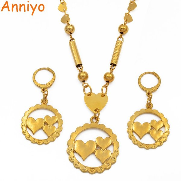 Anniyo Heart Beads Necklaces Earrings For Women Girls Jewellery Sets Moms Gifts Gold Color Micronesia Marshall Jewelry #196106 J190523