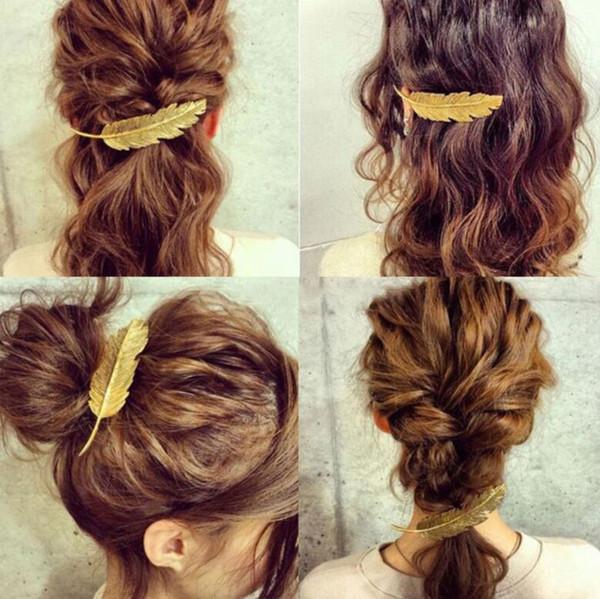 Mujeres de la moda de la pluma de la pluma horquillas niñas pinzas para el cabello diapositivas de la joyería de las señoras Diademas Barrettes Headwear Accesorios para el cabello 3 colores