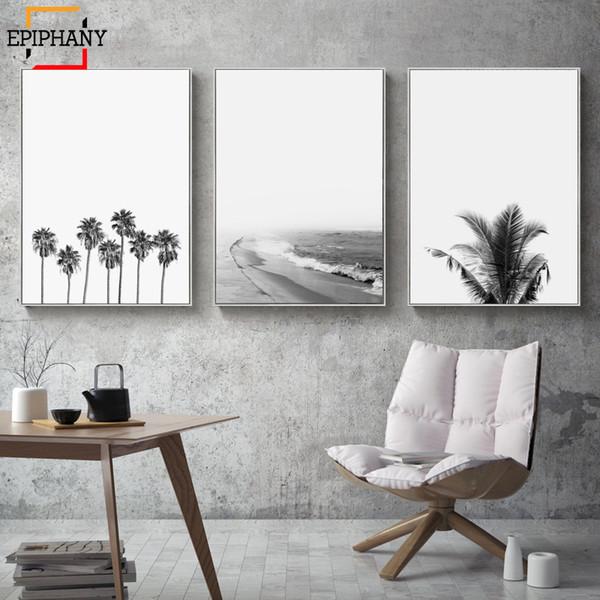 Affiche murale moderne affiches côtières noir et blanc océan Beach Print Tropical Decor minimaliste mur photos pour salon