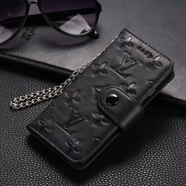 Genuine Leather Chain Phone Case For iPhone 11 pro max case For iPhone X 8/7 Plus Xs Xr Xs Max Branding Designer Monogram shockproof Cover