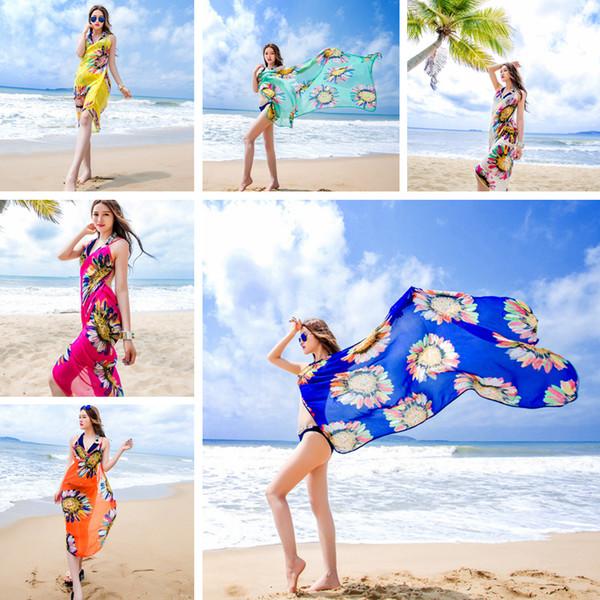 Fashion Women Floral Bikini Cover Sunflower Print Sexy Beach Dress Bohemian Beach Wrap Scarf Shawl Brace Swimwear T-TA626