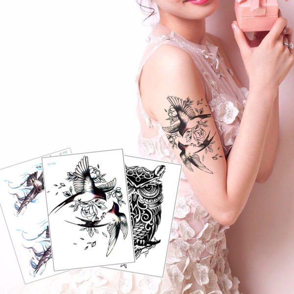 Fashion Bird Tattoo Waterproof Temporary Body Art Tattoo Sticker Flying Magpie Owl Flower Decal Design Water Transfer Paper for Woman Man 3D