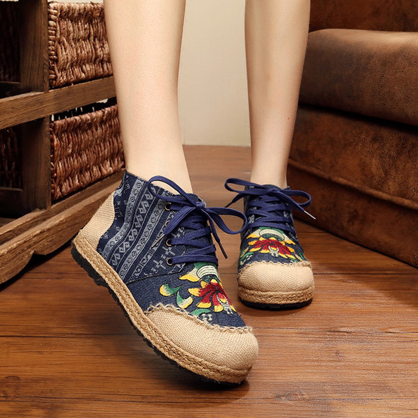 Embroidered flats Woman Fisher shoes lace up cloth shoes spring summer straw heel nation style ladies loafer lotus flower pattern zy427