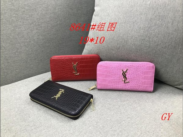 2019 new &#89SL &#SL wallet card package High quality brand jacket bag Long coin purse Wallet small handbag Ultra-thin Zipper wallet fashion