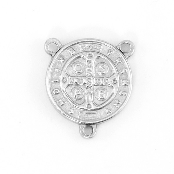 3 Holes Coin Catholic Church Saint Benedict of Nursia Exorcism Tags Round Connector for Necklace Stainless Steel Wholesale 50pcs