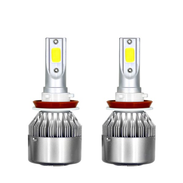 best selling 1 Pair 9006 C6 LED Car Headlights 72W 7600LM COB Auto Headlamp Bulbs H1 H3 H4 H7 H11 880 9004 9005 9006 9007 Car Styling Lights