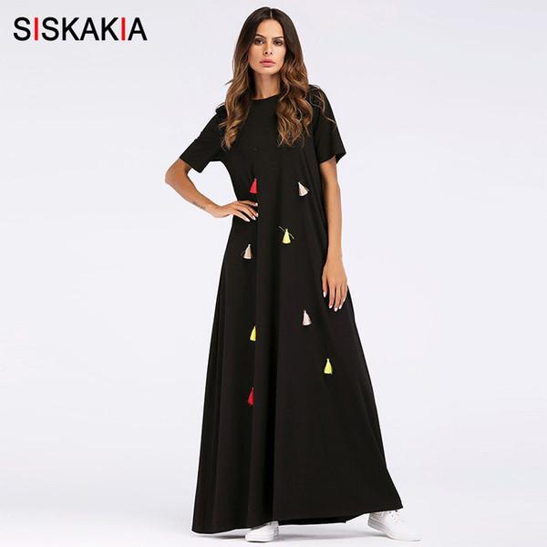 Siskakia Kentsel Rahat Maxi Uzun Elbise Yaz 2018 Bayanlar Renkli Püskül Tasarım T Gömlek Elbiseler Siyah Salıncak Müslüman Giyim Y190410