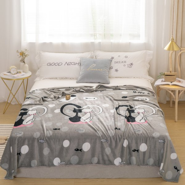 Gray cat bedspread blanket 200x230cm High Density Super Soft Flannel Blanket to on for the sofa/Bed/Car Portable Plaids